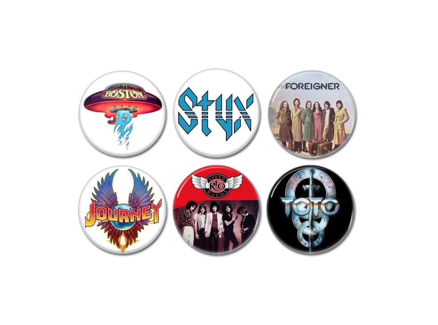 6 x Arena rock band buttons (25mm, badges, pinbacks)