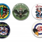 5 x Black Crowes band buttons (25mm, badges, pinbacks)