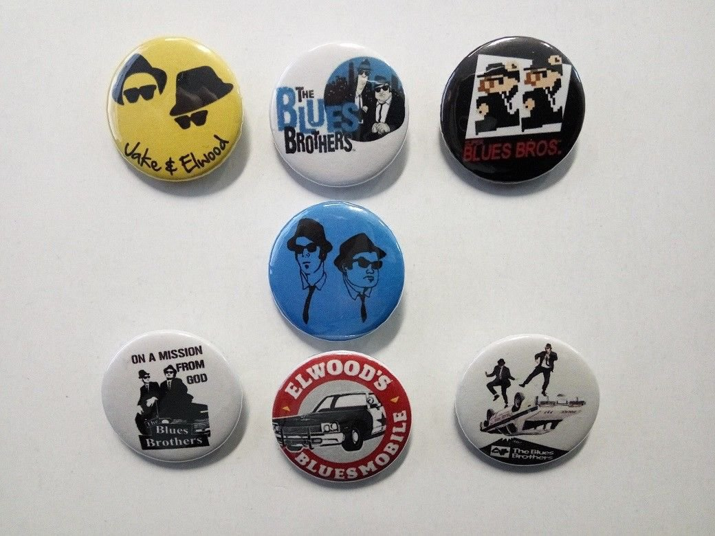 7 x Blues Brothers band buttons (25mm, badges, pinbacks)