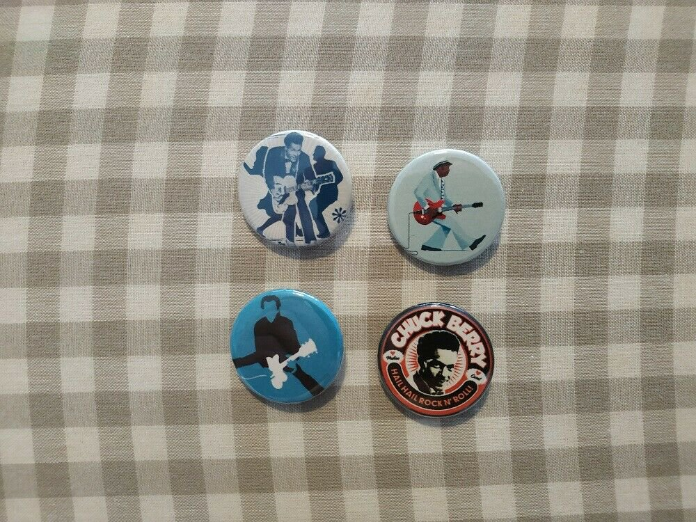 4 x Chuck Berry band buttons (25mm, badges, pinbacks)