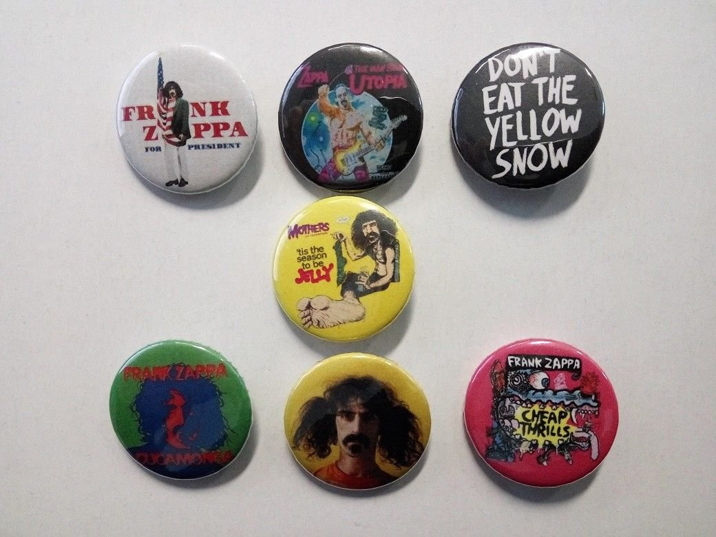 7 x Frank Zappa band buttons (25mm, badges, pinbacks)
