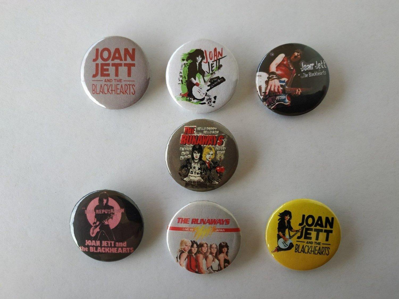 7 x Joan Jett band buttons (25mm, badges, pinbacks)