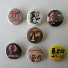 7 x Joan Jett band buttons (25mm, badges, pinbacks)