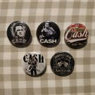 6 x Johnny Cash band buttons (25mm, badges, pinbacks)