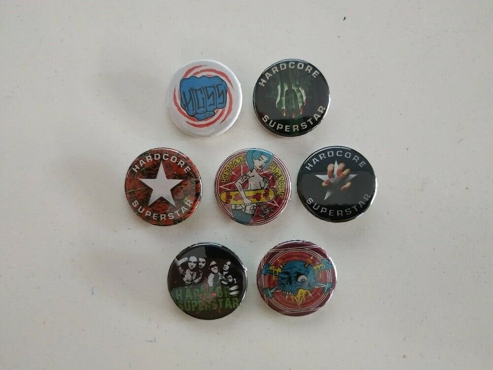 7 x Hardcore Superstar band buttons (25mm, badges, pinbacks)