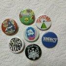 7 x Roky Erickosn band buttons (25mm, badges, pinbacks)