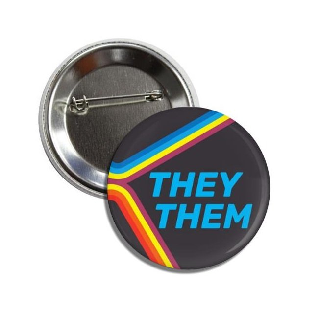 My Pronouns are They / Them button! (25mm, badges, pins, gay pride, lgbtq, rainbow)