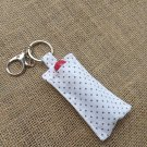 Lip Balm Polka Dot White Keychain (chapstick holder, keyring)
