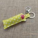 Lip Balm Keychain, Green Polka Dot (Chapstick Holder, keyring)