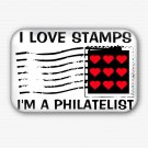 I Love Stamps Fridge Magnet (68x44mm,Philatelist,Postage,Collectible,Rare)