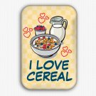 I Love Cereal Fridge Magnet (68x44mm, refrigerator magnet, corn flakes)