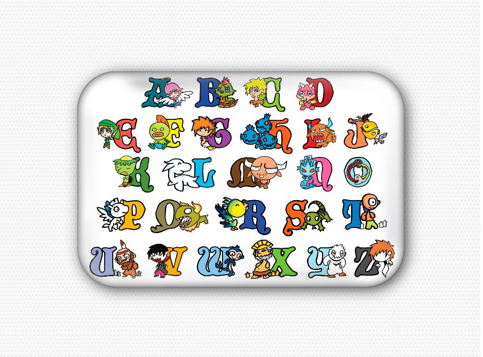 The Alphabet Fridge Magnet (68x44mm, refrigerator magnet)