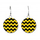 Zig Zag Lines button earrings (25mm, 1inch)