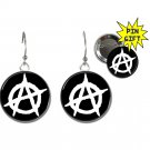 Anarchy button earrings plus free pinback (25mm, 1inch)