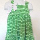 Jenny & Me - Poly/Spandex Green Polka Dot Dress w/Ruffle Infant Girls Size 2T
