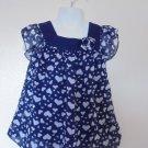 Healthtex - Navy w/White Hearts Balloon Lined Dress Ruffle Sleeves Girls 4T