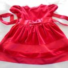 George - Red Velour & Satin w/Bow At Waist Holiday Dress Baby Girls Size 6-9 Mo