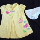 Child of Mine Yellow Polka Dot Butterfly SS Dress + Panty Infant Girls 3-6 Mo