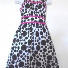 Speechless - Blk/Wte Polka Dot Dress w/Pink Trim & Ruffles Girls Size 8 Nice