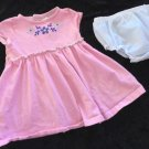 Child of Mine -  Pink Striped Dress w/Blue Flowers Diaper Cover Girls 12 Mo