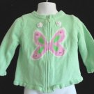 Circo - Cotton Mint Grn w/Pink/Crochet Antennas Butterfly Cardigan Girls 18 Mo