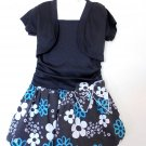 Extremely Me - Blk w/Shrug, Ruched, Blue/Wte Floral Skt, SS, Poly Girls Sz 5/6