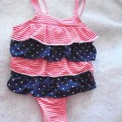 US Polo Assn. Patriotic Tiered One Piece Swimsuit Lined Baby Girls 3-6 Mos.