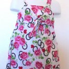 Park Bench Kids -  Wte & Pink Roses Vest w/Tie Dress Cute Baby Girls Size 2T