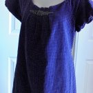 Mami Maternity - Purple & Black Velvety Checked Lined Maternity Top Ladies Med