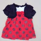 George - Red Sparkly Dress w/Black Shrug Lined Baby Girls 24 Mo CLEARANCE