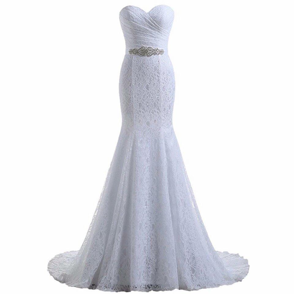 Elegant Sweetheart Ivory White Lace Mermaid Wedding Dress W/ Lace Up Back