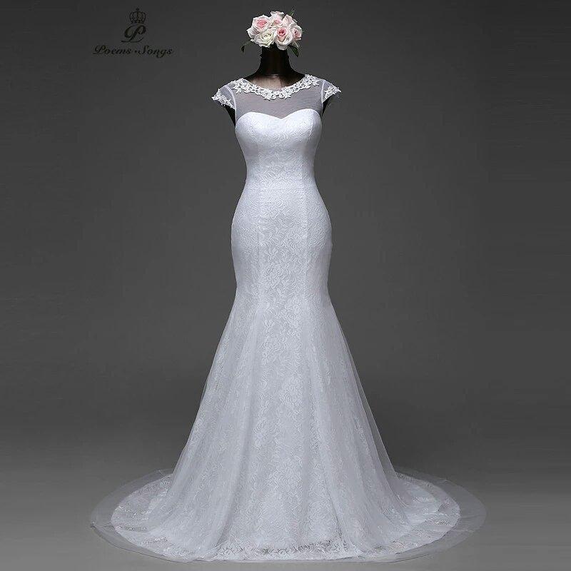 Elegant Cap Sleeve Mermaid Wedding Dress Removable Train and Lace Up Back