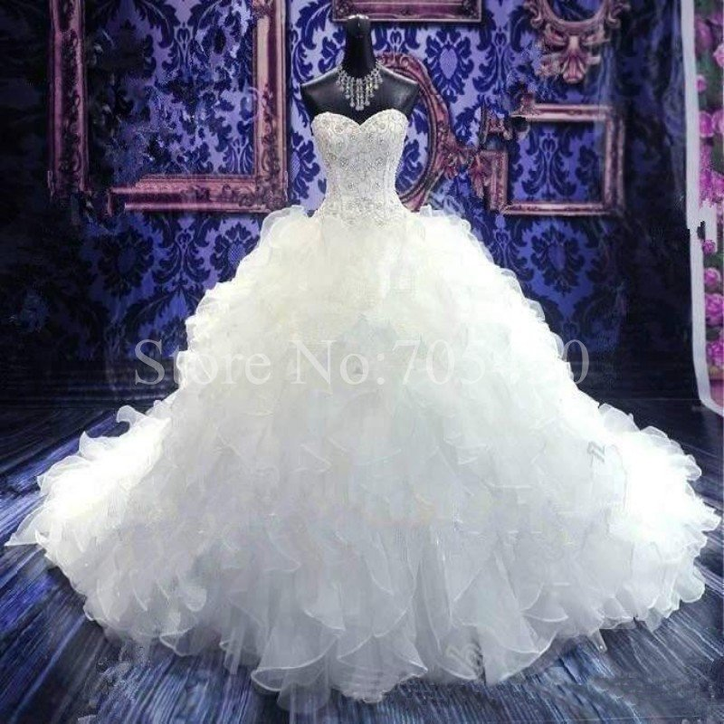 Sizes 2-24W Chapel Train White/Ivory Wedding Dress Embroidery Crystal Beaded Sweetheart