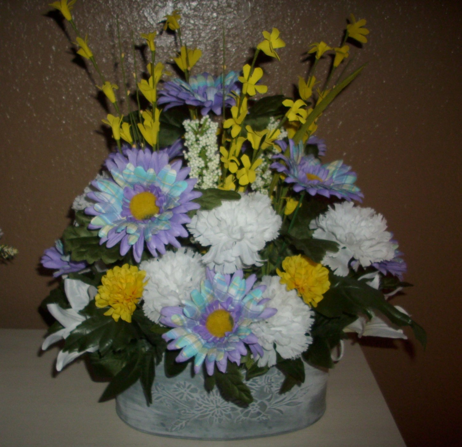 Floral Bouquet Country Purple & Geen Plaid Gerber Daisy's, to brighten any room