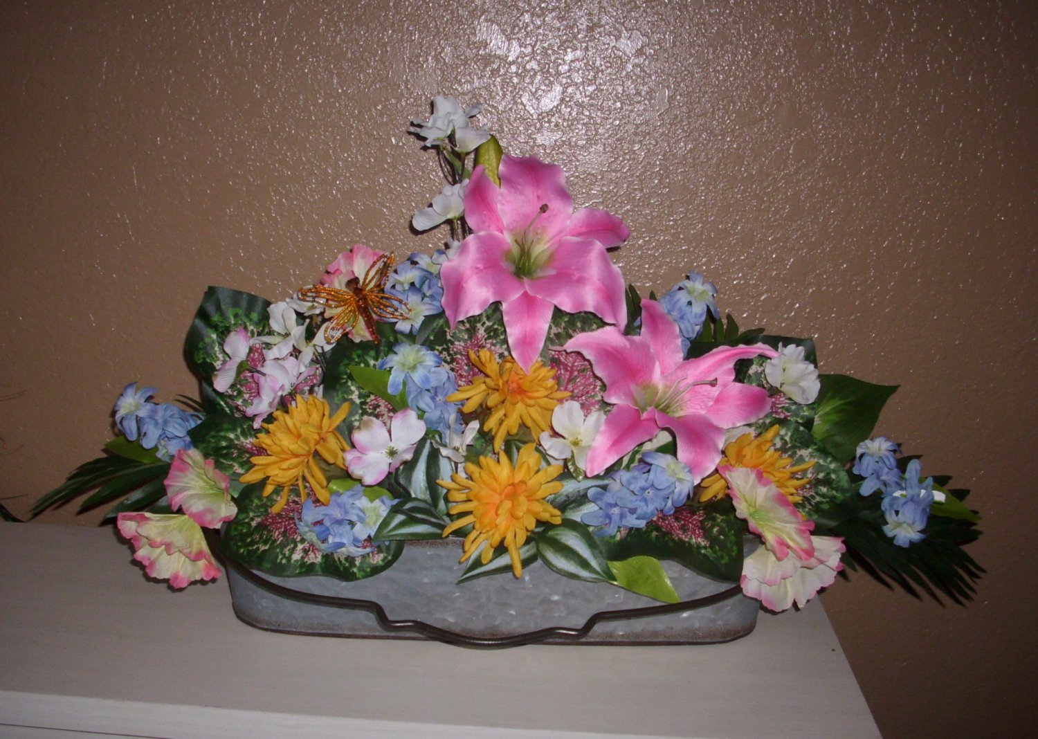 Floral-Center-Piece-Large-Silk-Flowers-Variety Very-large for tables-foyer