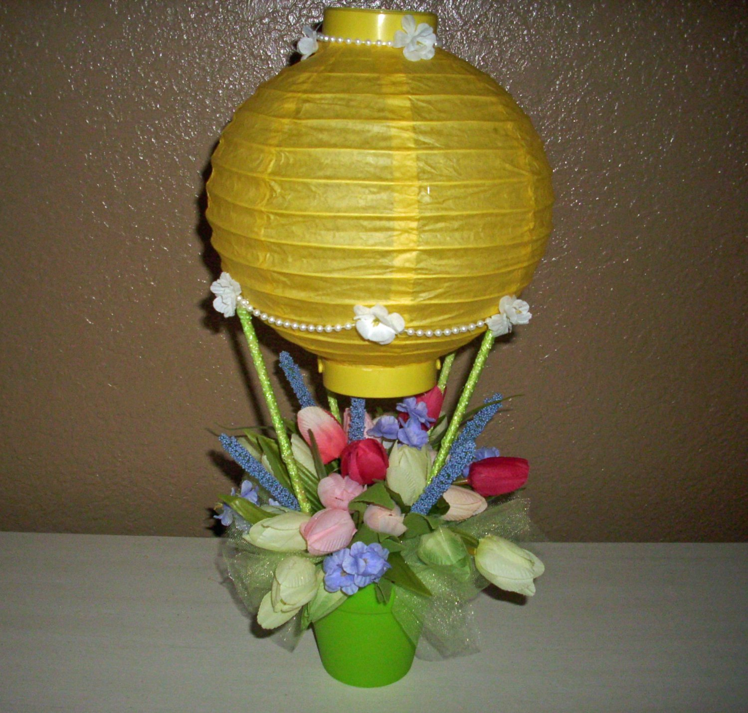 Hot Air Balloon Silk Floral Arrangement, in all spring Colors