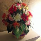 Summer Floral Arrangement Silk in Apple Basket