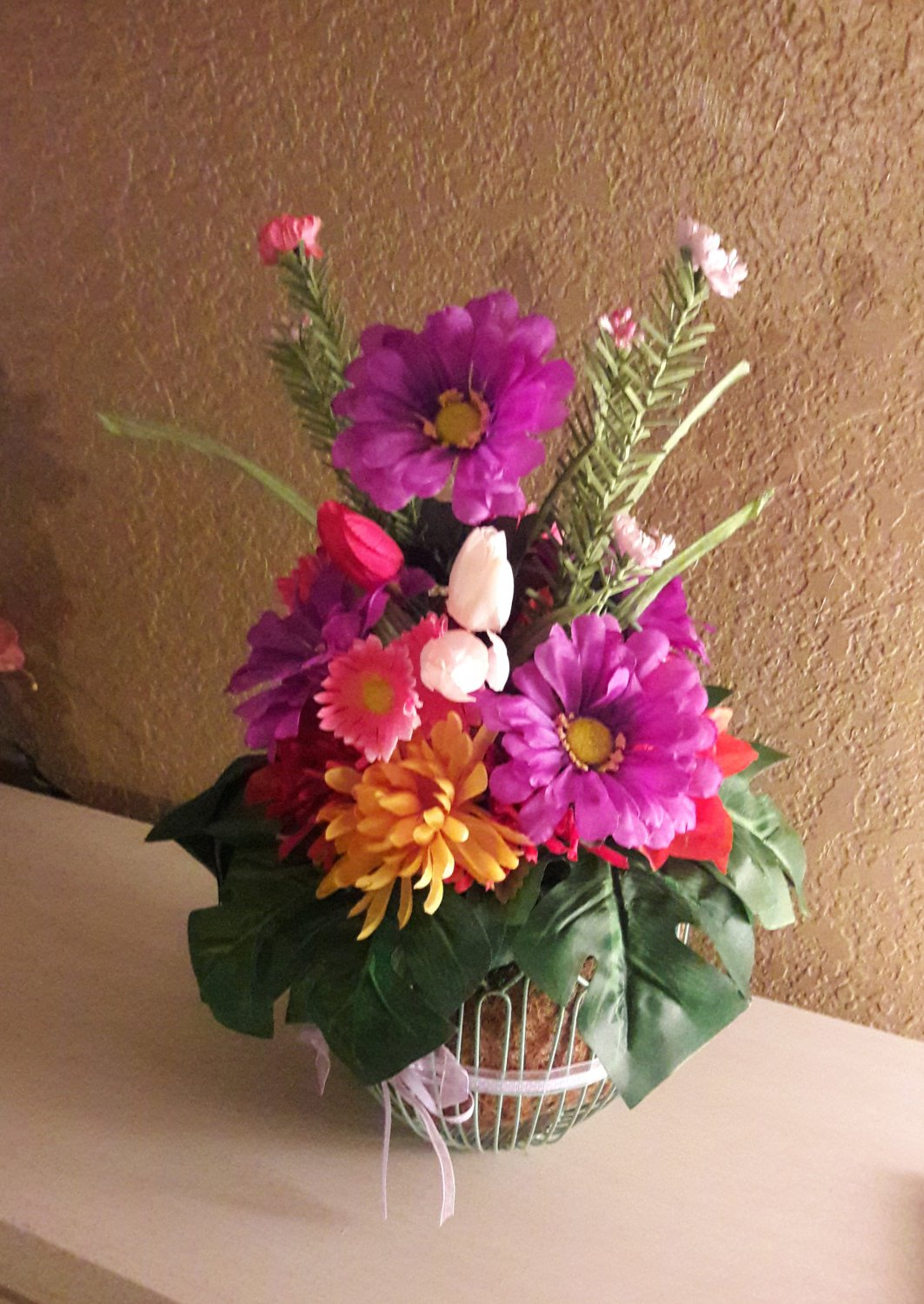 Summer Silk Floral Arrangement In wire basket