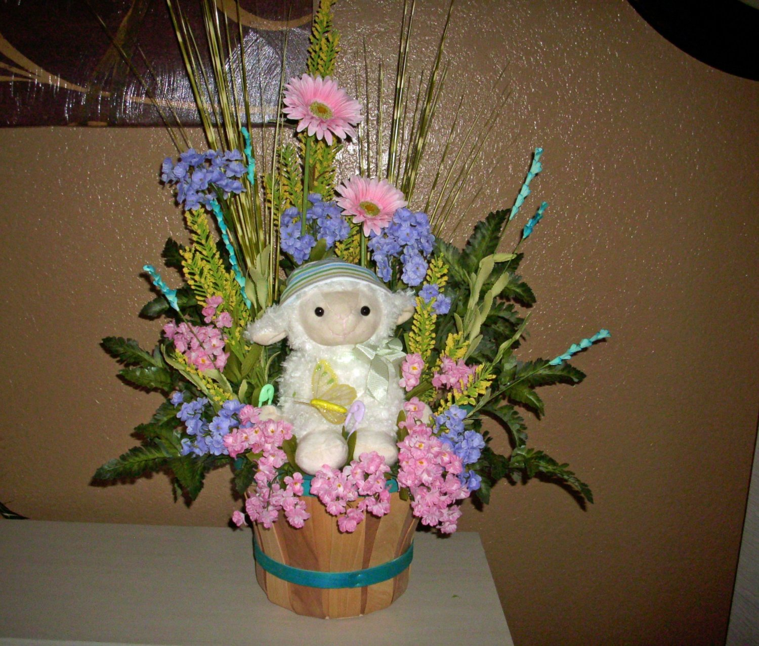 Baby Shower Floral Arrangement, Darling lamb and silk flowers A have to have !!!