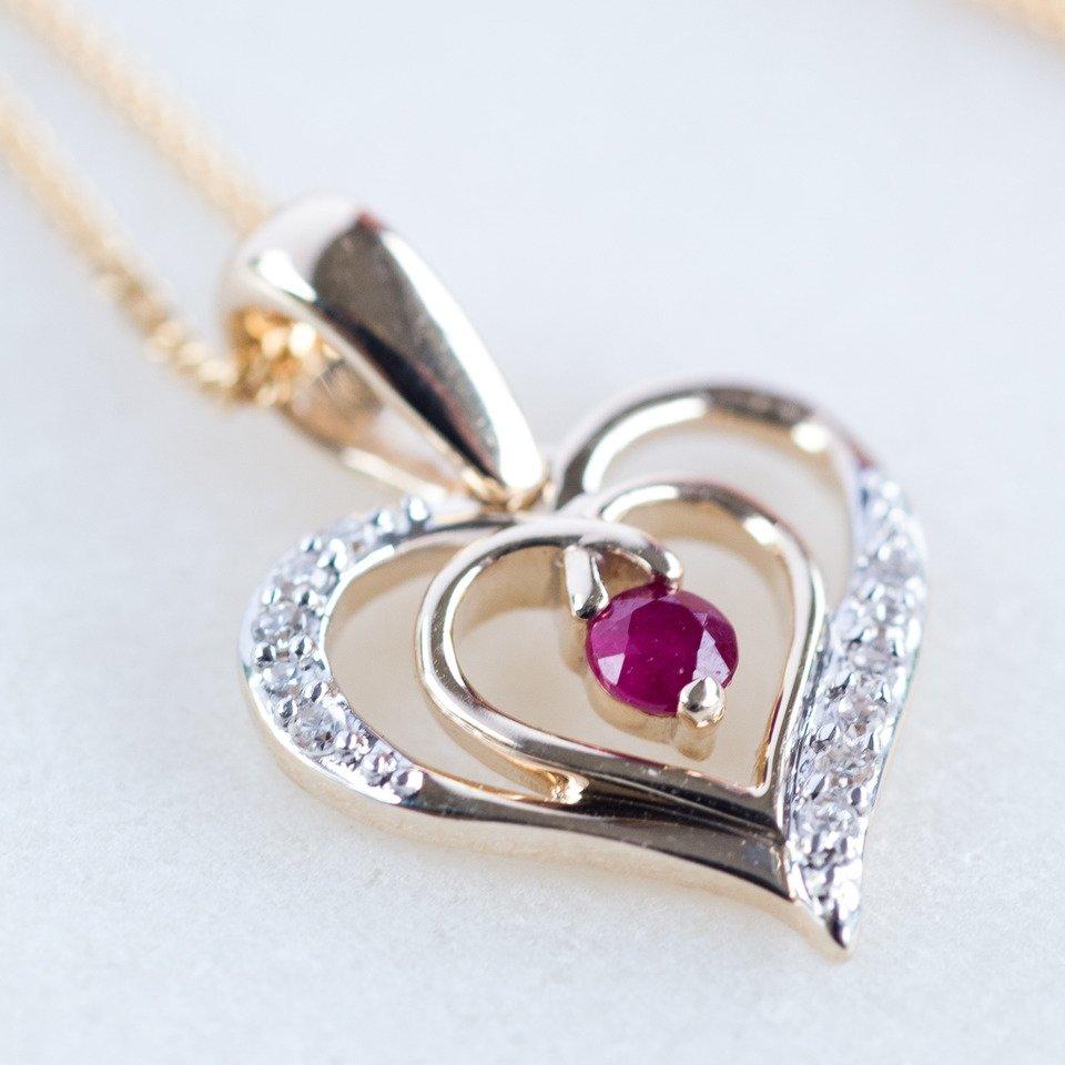 Ruby & Diamond Gold Heart Necklace*