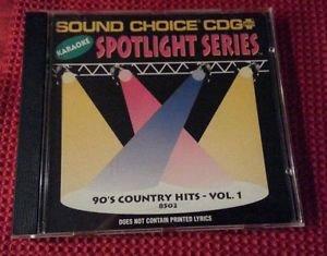SC 8502 90's COUNTRY - VOL.1 spotlight CD+G Sound Choice Karaoke VERY RARE