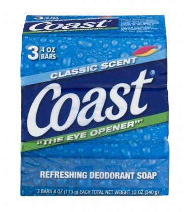 Coast Refreshing Deodorant Soap Classic Scent - 3 Count 4 Oz (8 BARS)