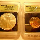 2000-(W) Silver Eagle(MS68)  & 2000-D Sacagawea Dollar Set  ICG #05490 intercept