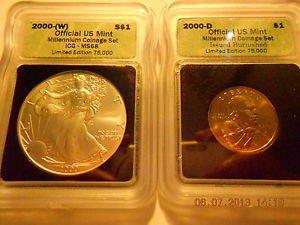 2000-(W) Silver Eagle(MS68)  & 2000-D Sacagawea Dollar Set  ICG #05459 intercept
