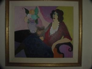"Tarkay  Orginial Painting   ""MARGARET""  Acrylic Framed"