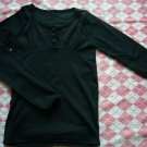 Korea Black Silm Tee w/ 3 Buttons