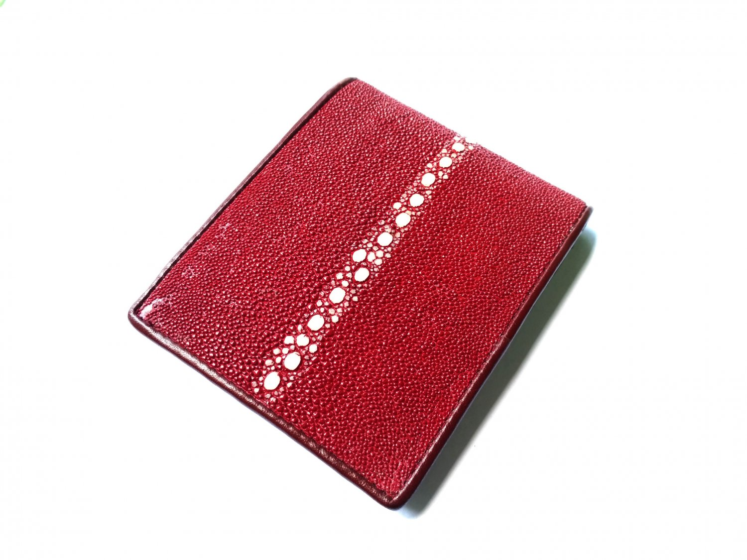Real Leather Wallet For Men Stingray Skin Wallet Maroon Red Bifold Wallet