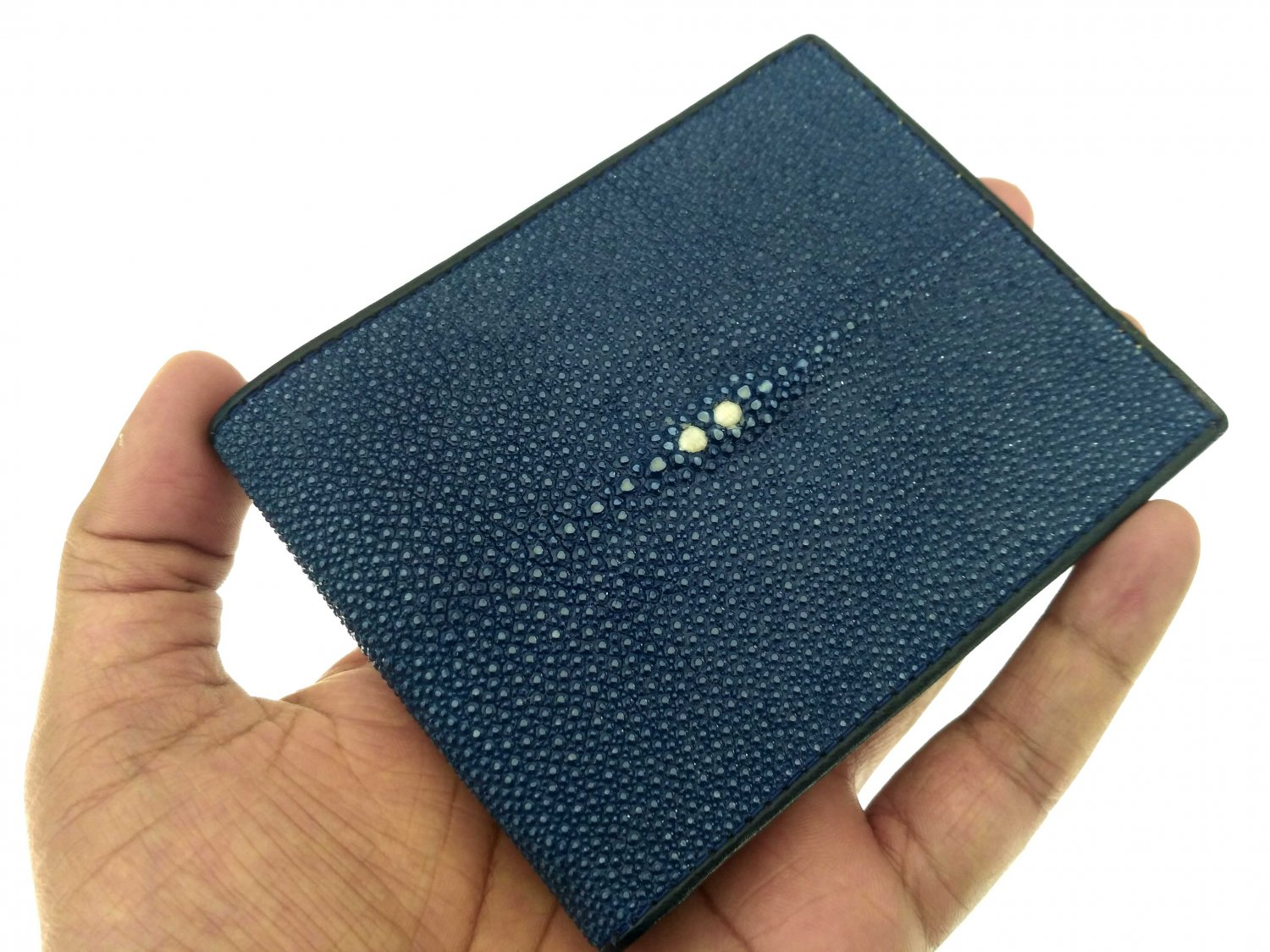Stingray Leather Wallet Real Stingray Skin Bifold Wallet Blue Color
