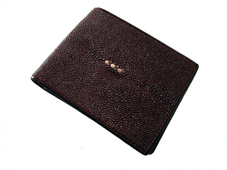 Real Stingray Skin Leather Wallet Men Bifold Wallet Brown Color