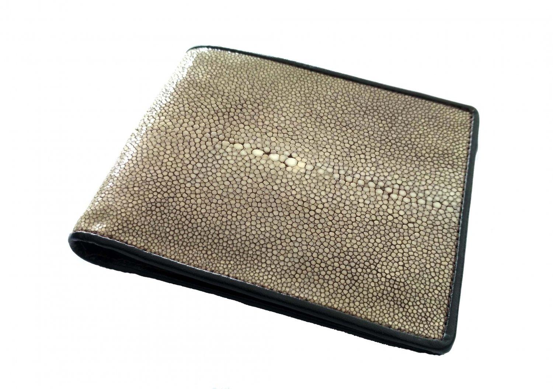 Sanded Stingray Skin Wallet For Men Brown Bifold Leather Wallet